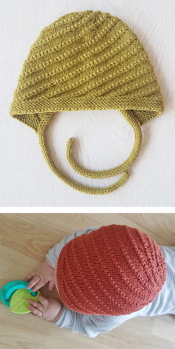 Free Knitting Pattern for Twister Baby Bonnet