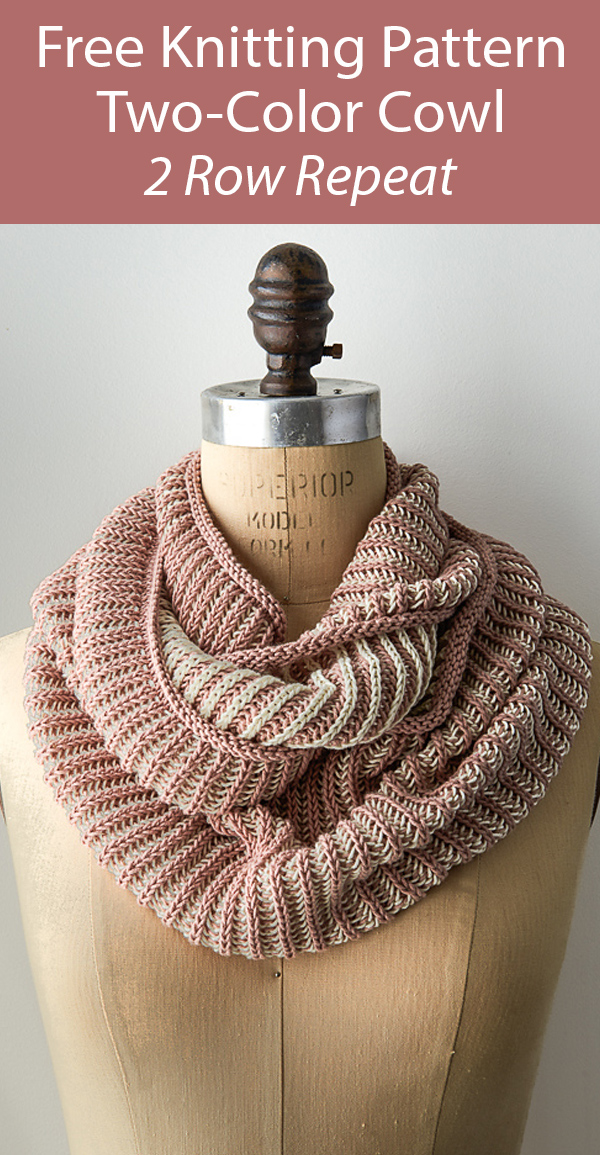 Free Knitting Pattern 2 Row Repeat Two-Color Cowl