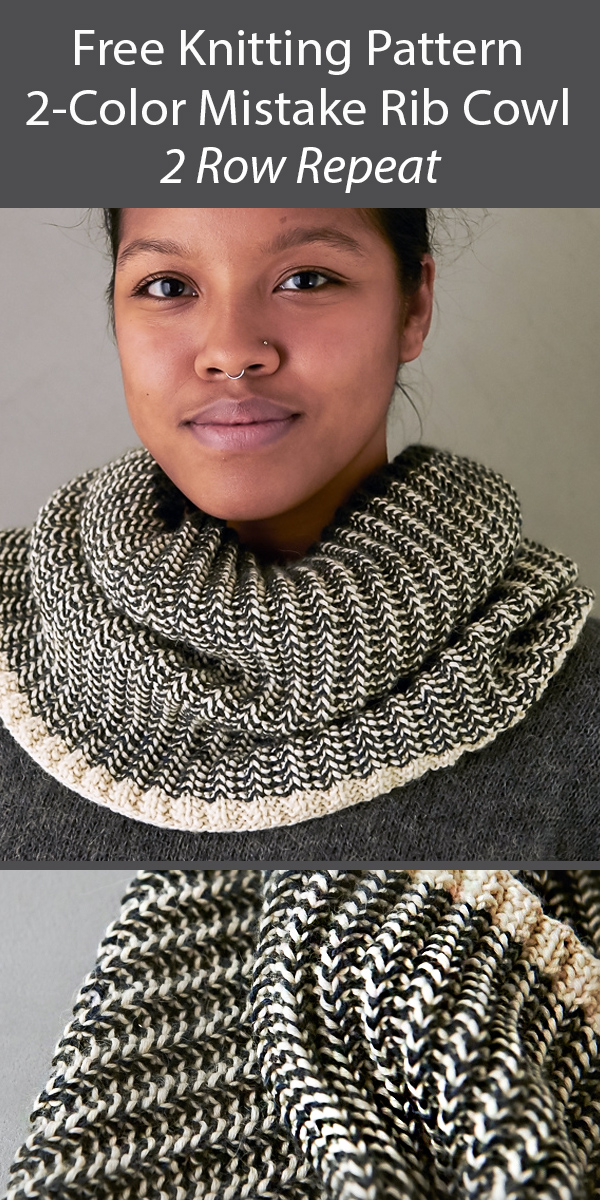 Free Cowl Knitting Pattern Two-Color Mistake Rib Cowl