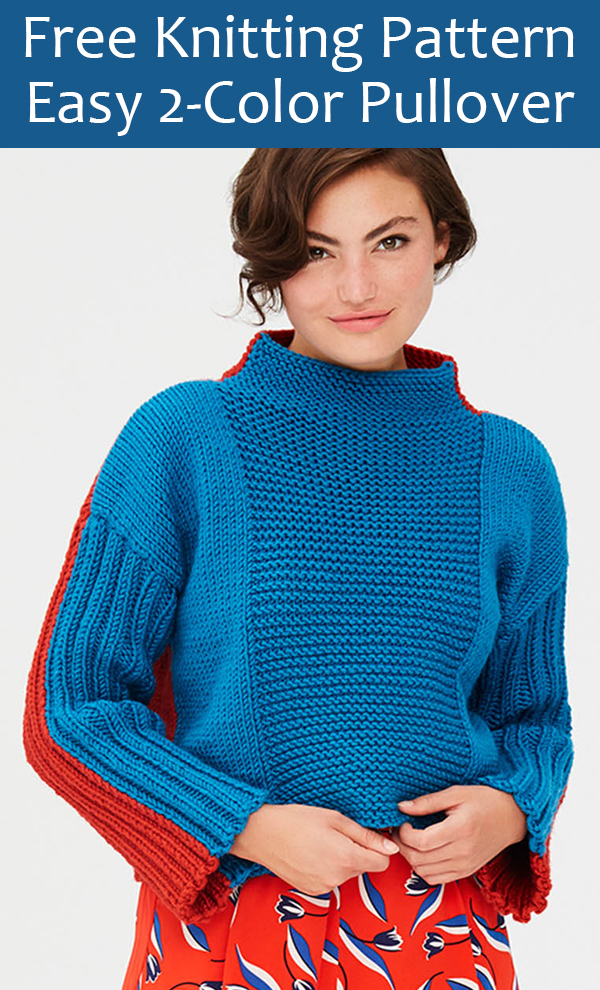 Free Knitting Pattern for Easy 2-Color Pullover Sweater