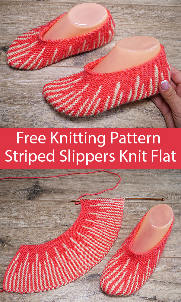 Free Knitting Pattern for Two Color Slippers Knit Flat in One Piece