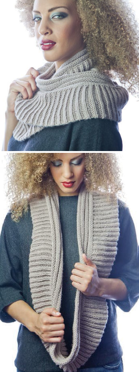 Free Knitting Pattern for Two Ribs Infinity Scarf