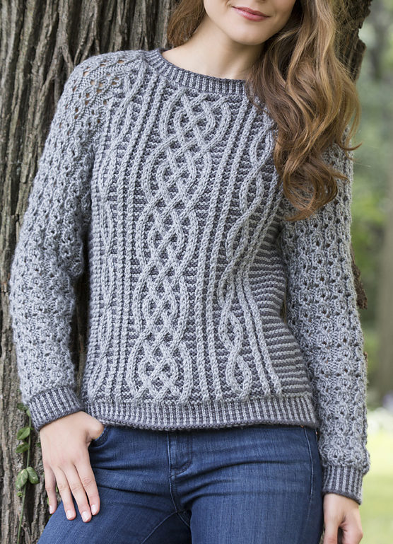 Free Knitting Pattern for Two Tone Cable Sweater