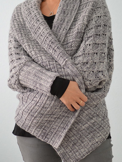 Knitting pattern for Two Way Wrap Cardigan