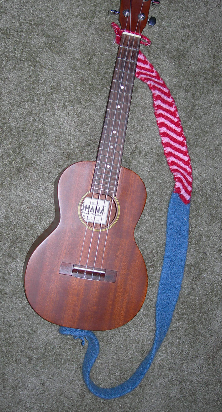 Free Knitting Pattern for Felted Guitar or Ukelele Strap