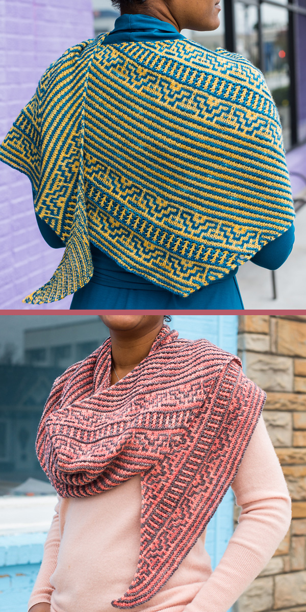 Knitting Pattern for 2 Color Mosaic Shawl Unheeded Warnings