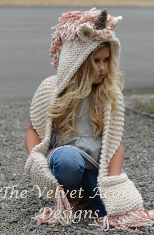 Knitting Pattern for Unice Unicorn Hooded Scarf