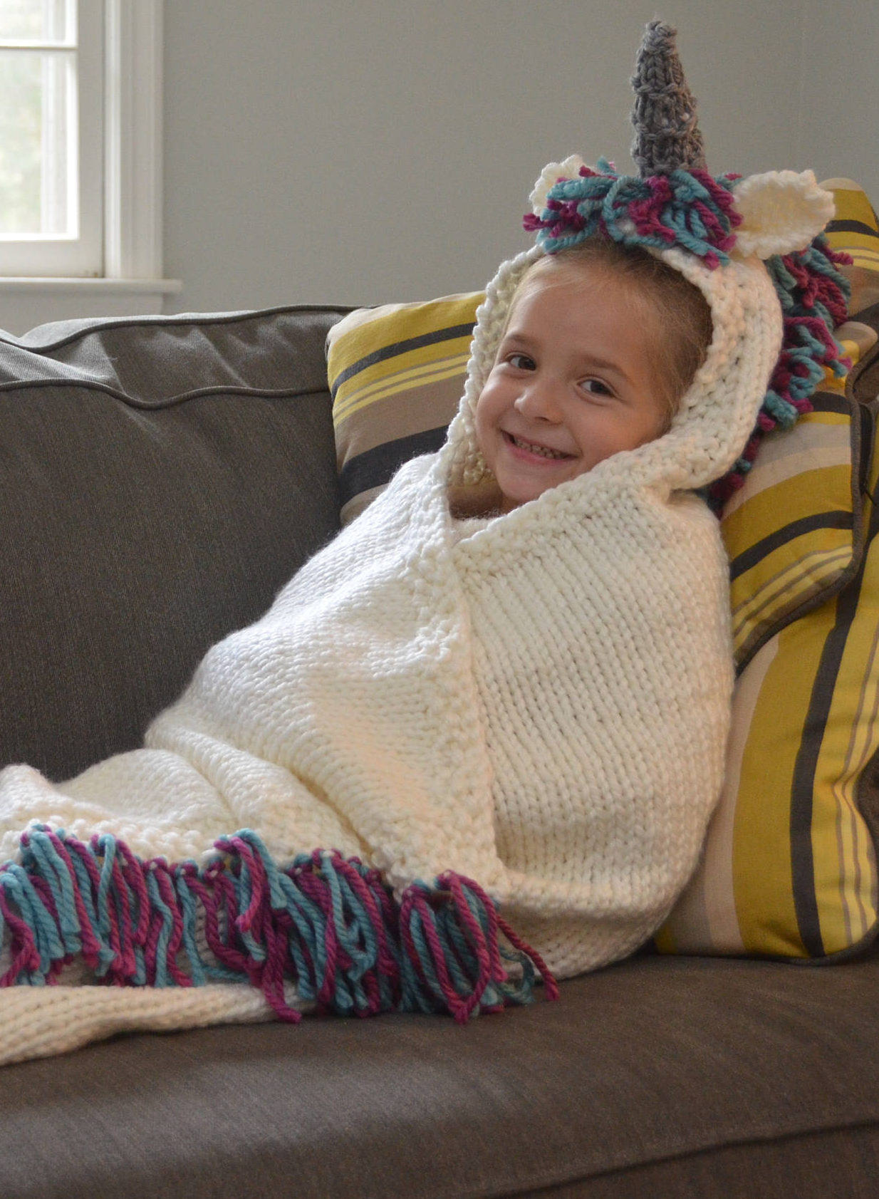 Knitting Pattern for Unicorn Hooded Blanket