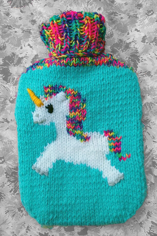Free Knitting Pattern for Unicorn hot water bottle cover