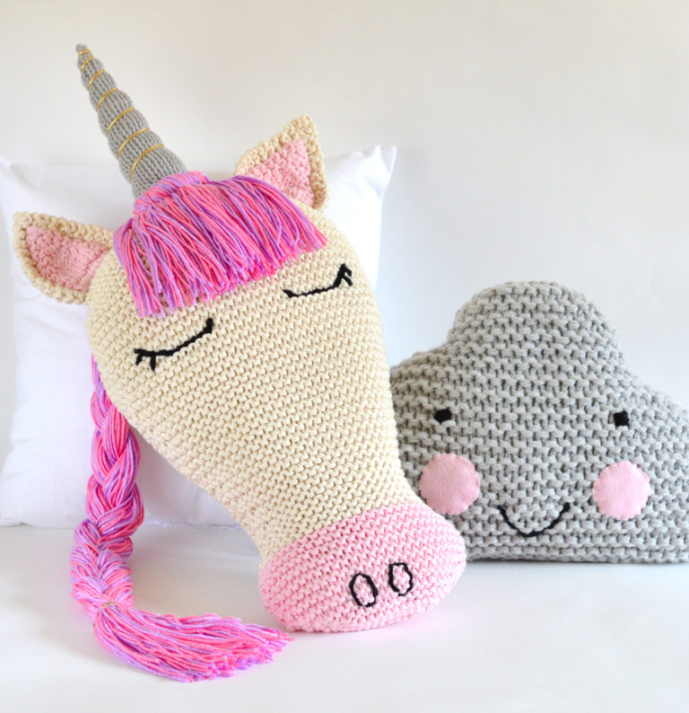 Knitting Pattern for Unicorn and Cloud Pillows