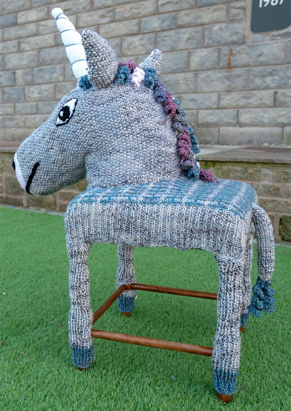 Free Knitting Pattern for Unicorn Stool Cover