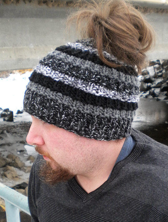 Knitting Pattern for Unisex Bun Beanie