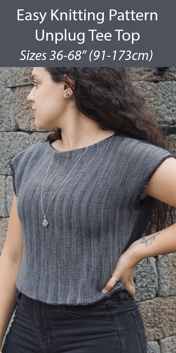 "Easy Knitting Pattern for Unplug Tee Top Sizes 36-68"" (91-173cm)"