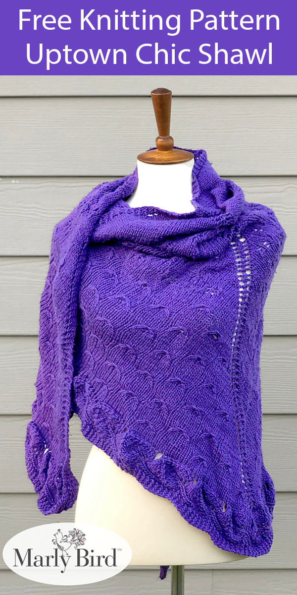 Free Knitting Pattern for Uptown Chic Shawl
