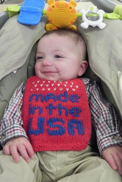 Free knitting pattern for Made in USA bib and more baby bib knitting patterns