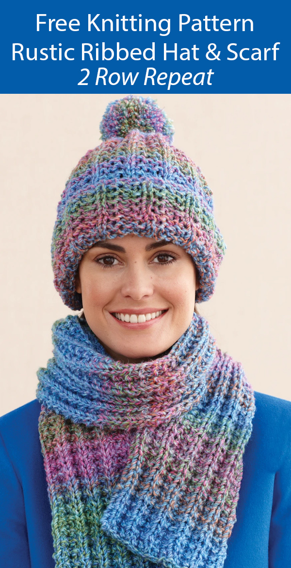 Free Knitting Pattern Rustic Ribbed Hat and Scarf
