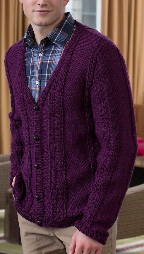 Free Knitting Pattern for Men's V-Neck Cable Cardigan