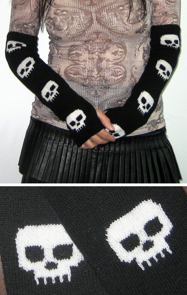 Free Knitting Pattern for Skull Mitts