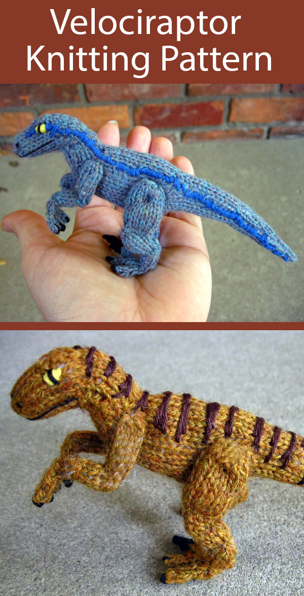 Knitting Pattern for Velociraptor Dinosaur Toy