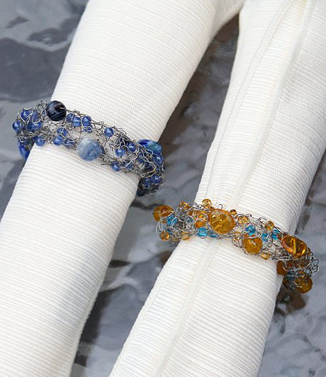 Free Knitting Pattern for Venezia Beaded Napkin Rings