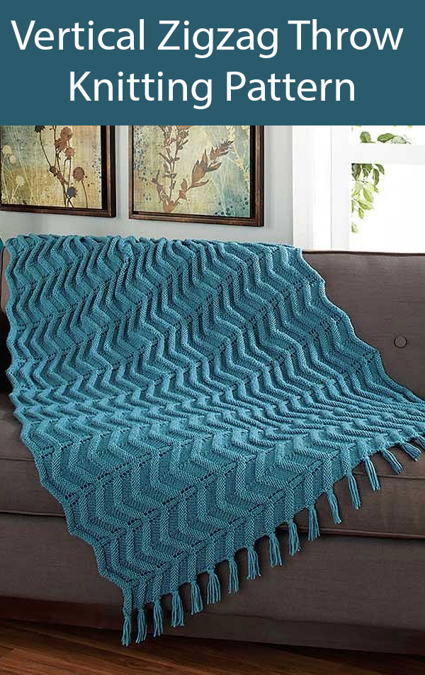 Knitting Pattern for Vertical Zigzag Throw