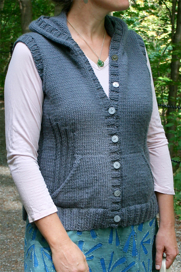 Free Knitting Pattern for Viatori Hooded Vest