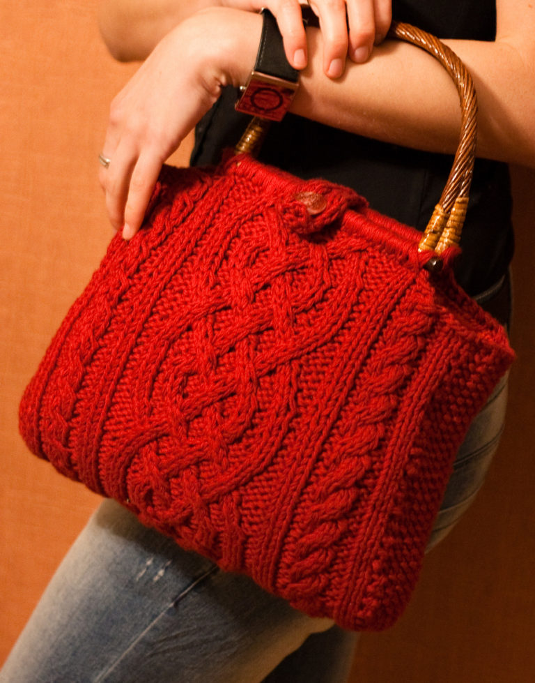 Free Knitting Pattern for Viking Cable Handbag