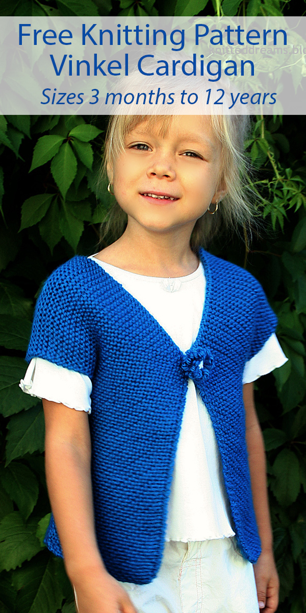 Free Knitting Pattern for Easy Vinkel Cardigan Baby and Child Sizes