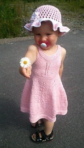 Free knitting pattern for Violet Dress for child sizes