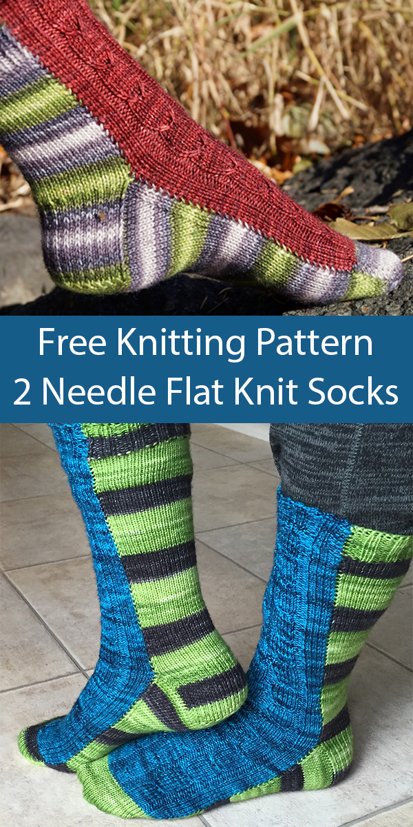 Free Knitting Pattern for Two Needle Flat Knit Socks