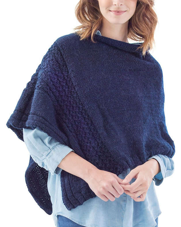 Free Knitting Pattern for Easy Virtual Cable Poncho