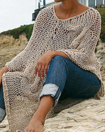 Knitting Pattern for Cable Mesh Poncho