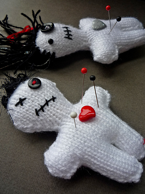Free knitting pattern for Voodoo Doll pincushion