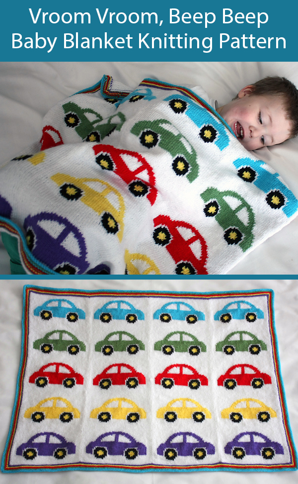 Knitting Pattern for Vroom Vroom, Beep Beep Baby Blanket