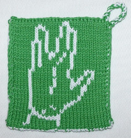 Free knitting pattern for Vulcan Salute Potholder