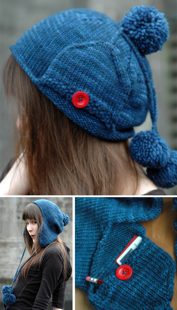 Knitting Pattern for Pocket Earflap Hat