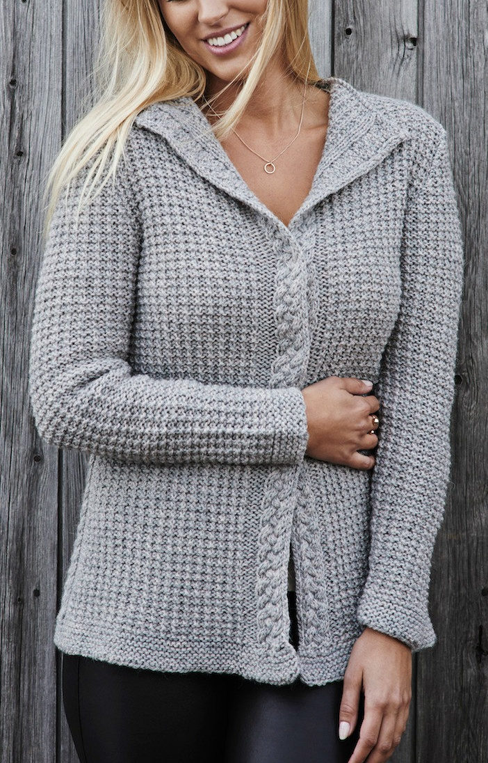 Knitting Pattern for Waffle Cardigan