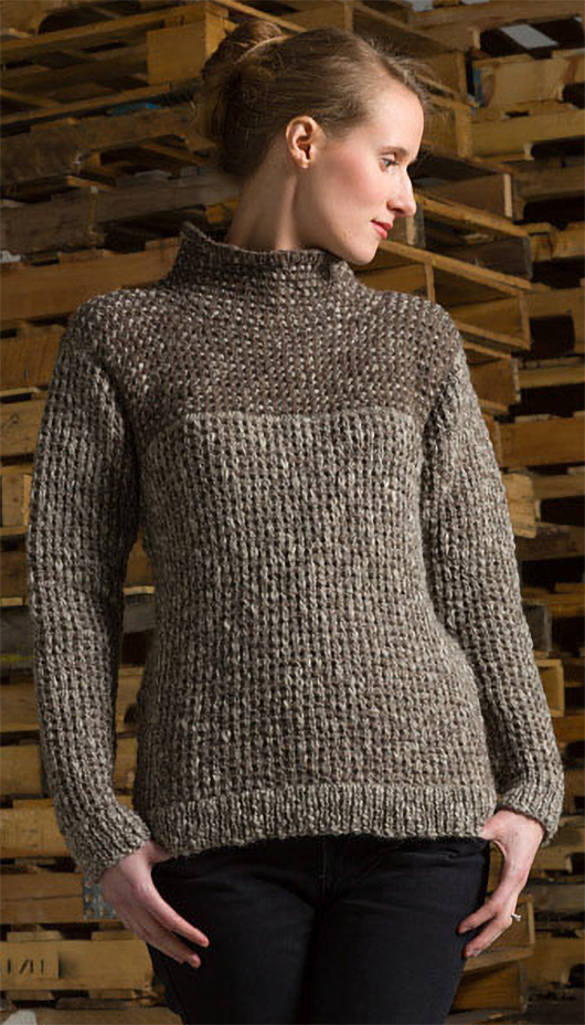 Free Knitting Pattern for Waffle Stitch Pullover