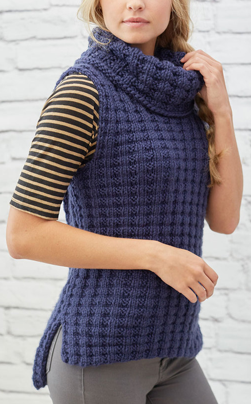 Free Knitting Pattern for 4 Row Repeat Waffle Stitch Vest