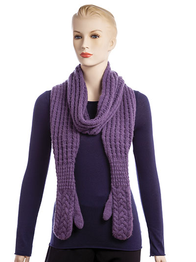 Knitting pattern for Waffles and Syrup scarf with built in mittens and more cozy scarf knitting patterns