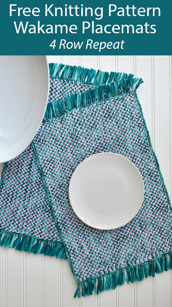 Free Knitting Pattern for 4 Row Repeat Tweed Wakame Placemats