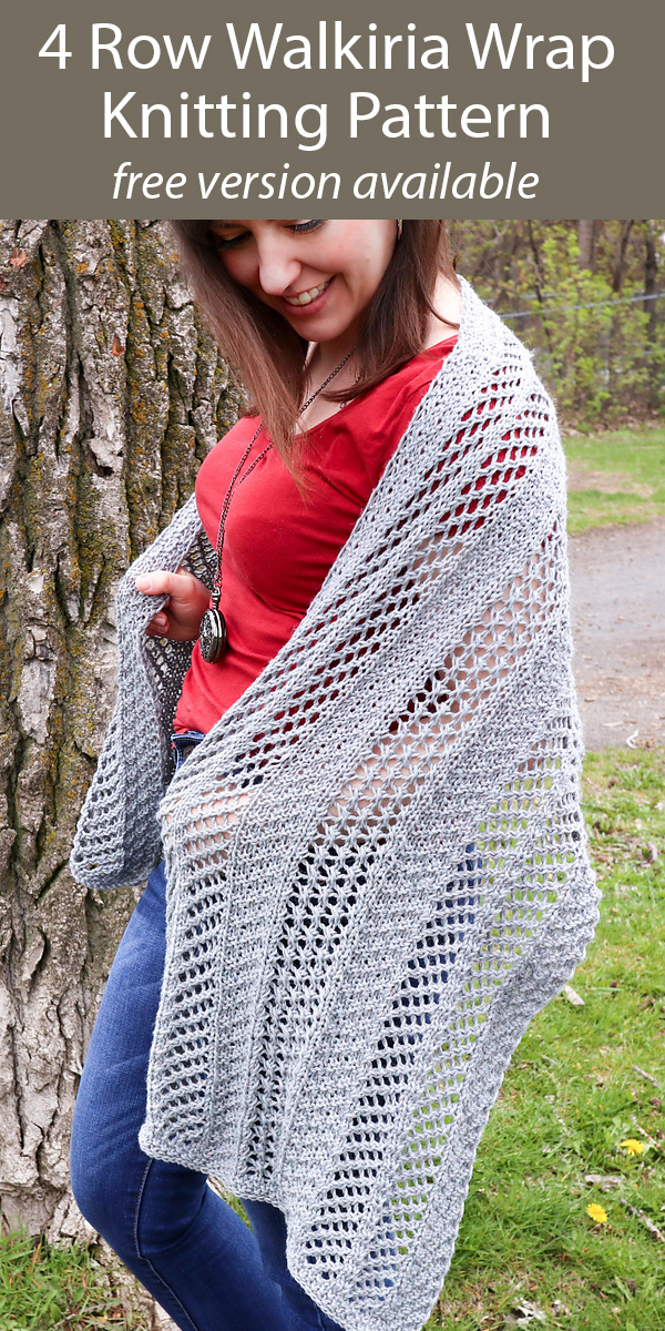 Free Shawl Knitting Pattern for 4 Row Repeat Walkiria Wrap