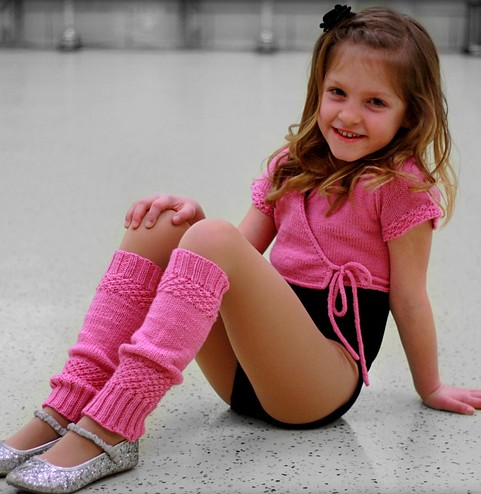 Knitting pattern for Child's Ballet Set with wrap cardigan and legwarmers