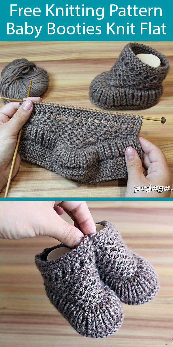 Free Knitting Pattern for Baby Booties Knit Flat