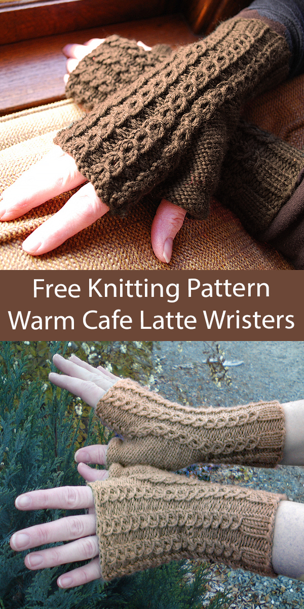 Free Fingerless Mitts Knitting Pattern Warm Cafe Latte Wrizzies