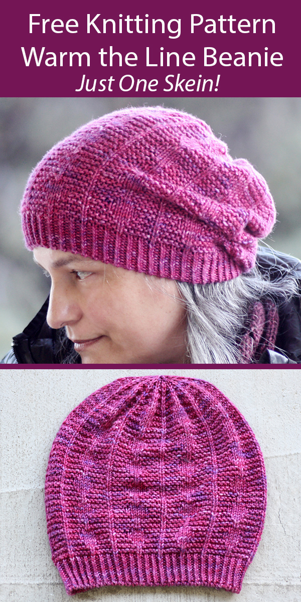 Free Hat Knitting Pattern for Warm the Line Beanie