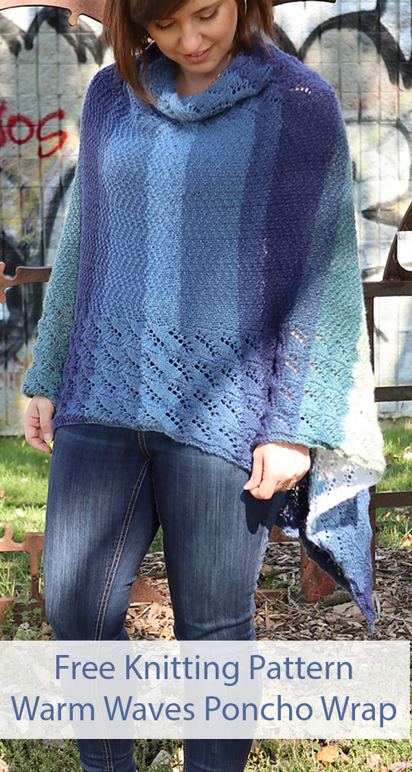 Free Knitting Pattern for Warm Waves Poncho Wrap