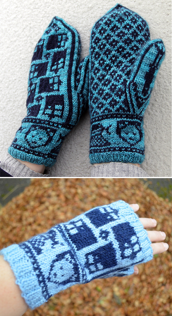 Knitting Pattern for Doctor Who Warmer on the Inside Mittens or Handwarmers