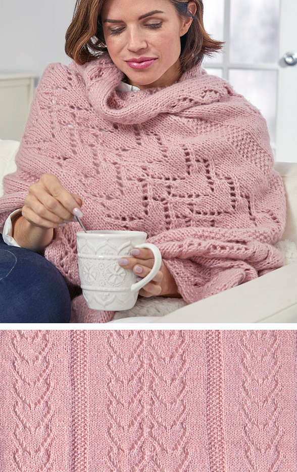 Free Knitting Pattern for Warming Hearts Sofa Shawl