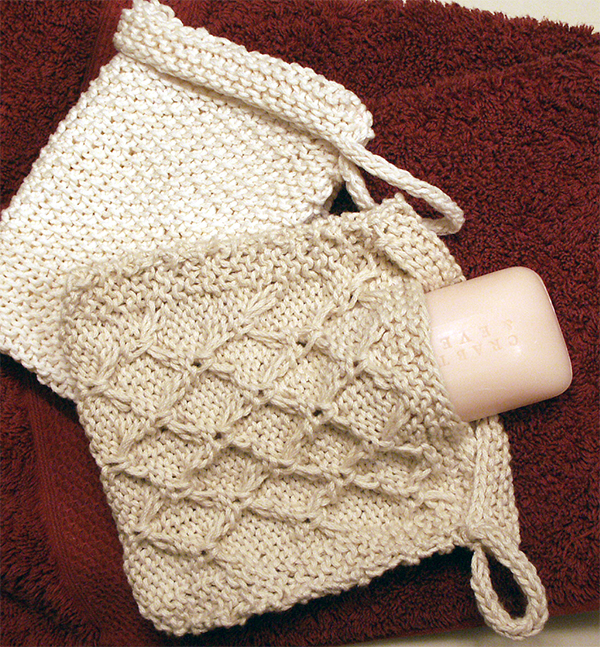 Free Knitting Pattern for Washcloth With Soap Pocket